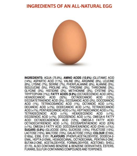 Ingredients in an egg