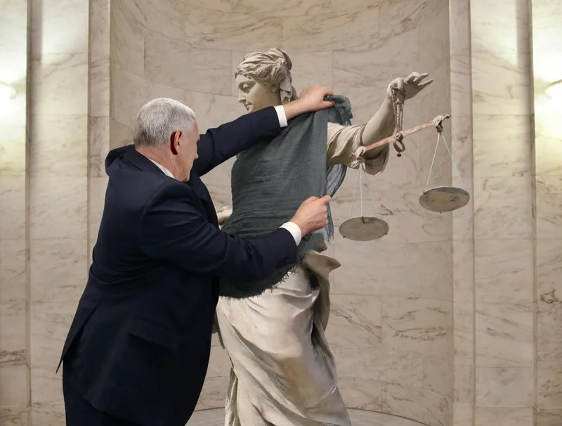 Mike Pence Drapes Shawl Over Immodest Lady Justice Statue