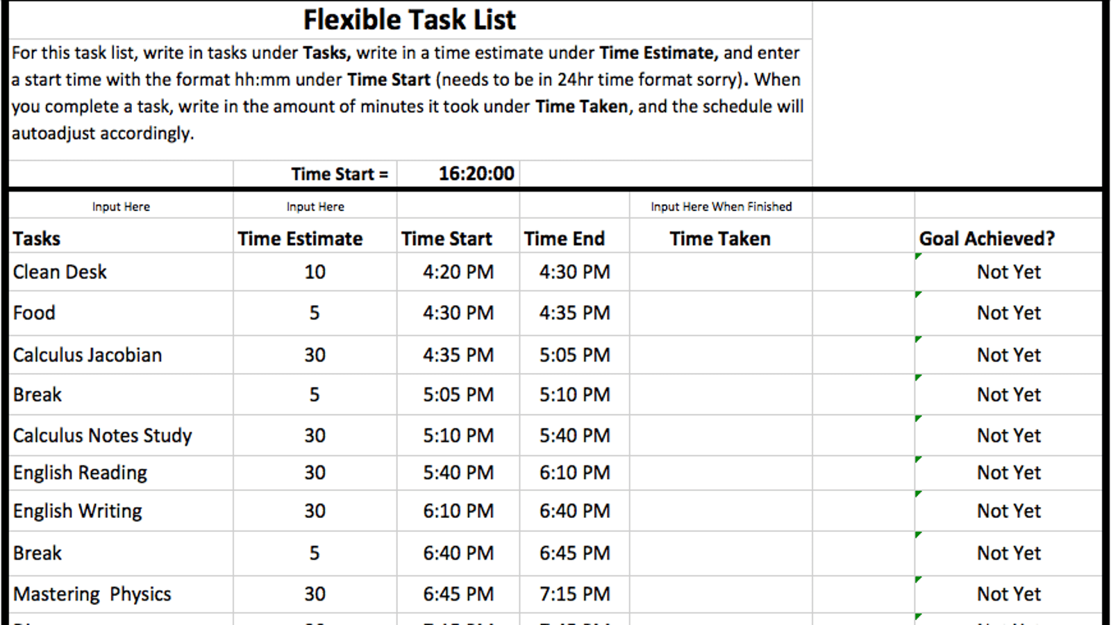 Flexible Task List Is The Simplest Excel Template For Time