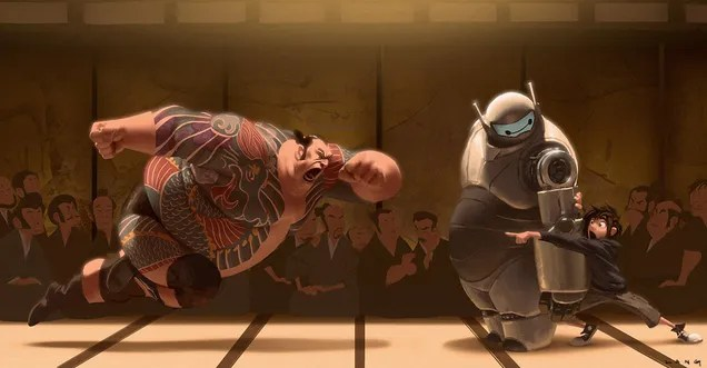 Concept Art Of The Yakuza Wrestling Match Cut From Big Hero 6—And More