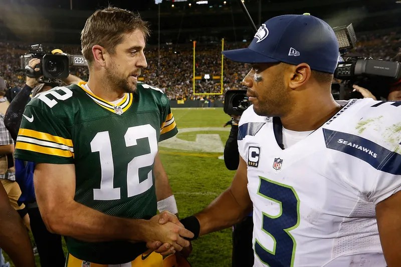 Aaron Rodgers Makes Fun Of Russell Wilson By Crediting God For The Packers' Win