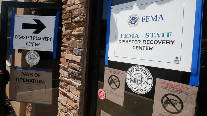 FEMA Disaster Recovery signs guides residents to help Rainelle, W. Va., In August 2016. A former non-profit director of West Virginia is leading a prison for defrauding FEMA of $ 18,000 in disaster funds.