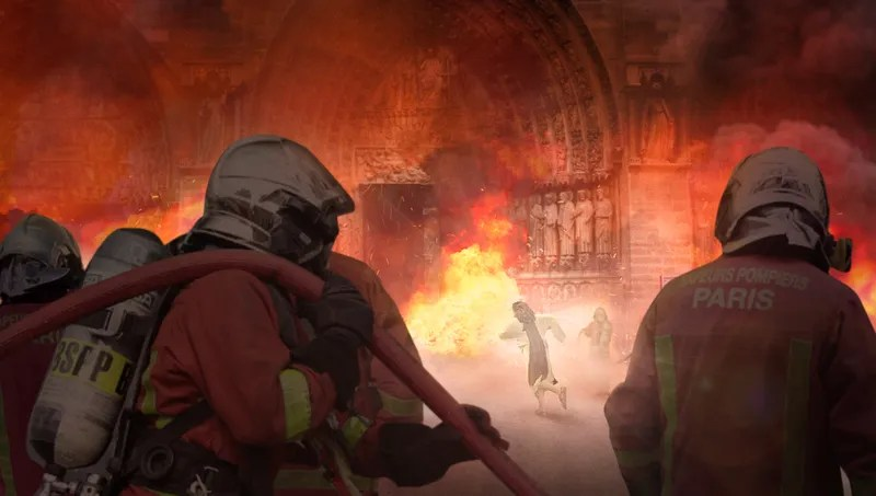 Illustration for article titled Jesus Christ Pushes Past Firefighter Into Burning Notre Dame To Save Beloved Relic