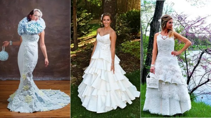 These Wedding Dresses Made of Toilet Paper Are Surprisingly Stylish Wedding dresses generally cost a fortune  But what if you could make your  own  out of whatever was lying around the house  How about a little toilet  tissue