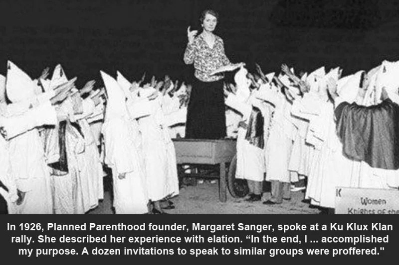 Image result for cartoons margret sanger KKK meeting