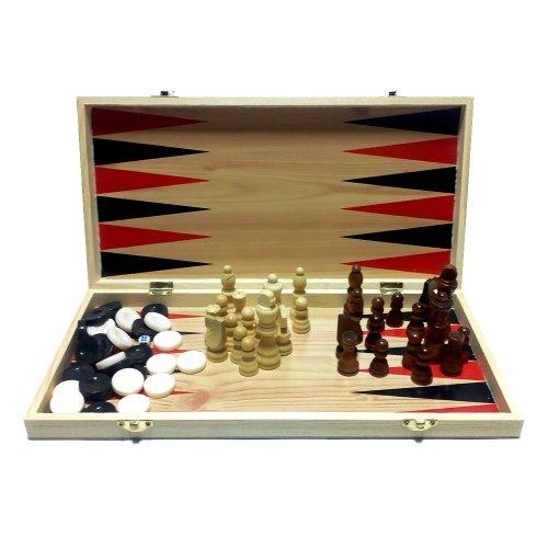 Шахматы шашки нарды 38 см Набор 3в1