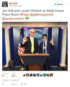 Jim Hoft Follow @gatewaypundit Jim Hoft and Lucian Wintrich at White House Press Room #Pepe @gatewaypundit @lucianwintrich RETWEETSLIKES 84- 225 12:55 PM 13 Feb 2017 84225