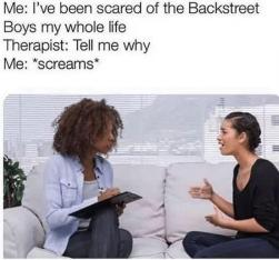 "Me: I've been scared of the Backstreet Boys my whole life Therapist: Tell me why Me: ""screams* Text Product Job Conversation"