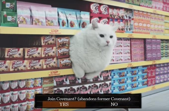 CH CROSS Toffifee CHOCO CRoSSIE -Оюсо CROSSE CHOCO Toffifee CROSS FONOCO CROSSIES SIES OOCO CROSSES CHOC CROSS Toffife dup dup dup dup Join Covenant? (abandons former Covenant) dup dup dupl YES NO Cat