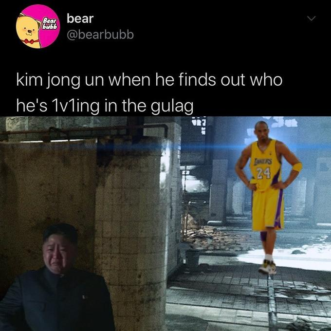 Gear bear bubb @bearbubb kim jong un when he finds out who he's 1vling in the gulag LANERS 24 Text Yellow