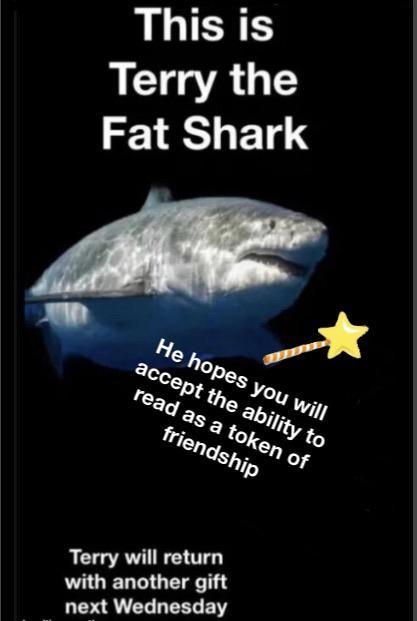 This is Terry the Fat Shark He hopes you will accept the ability to read as a token of friendship Terry will return with another gift next Wednesday Fish Shark Organism