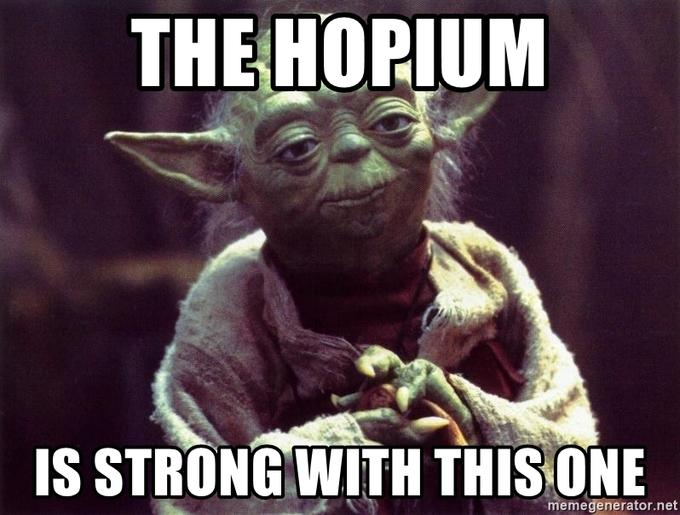 THE HOPIUM IS STRONG WITH THIS ONE memegenerator.net Yoda Fictional character Photo caption Internet meme