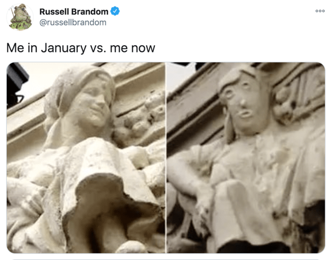 Russell Brandom 000 @russellbrandom Me in January vs. me now Statue Sculpture Statue Classical sculpture Stone carving Art Relief Human History