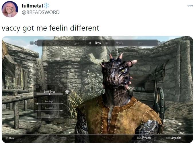 fullmetal 000 @BREADSWORD vaccy got me feelin different Face Eyes a Brow D Mouth Hair Brow Type Brow Height Brew Width Brov it O Done MAME Prisoner RACE Argonian The Elder Scrolls Online The Elder Scrolls IV: Oblivion The Elder Scrolls V: Skyrim – Dawnguard Animation Fictional character