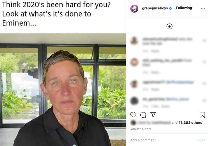 Think 2020's been hard for you? grapejuiceboys · Following Look at what's it's done to Eminem... +) and 73,382 others AUGUST 9, 2020 Add a comment... Post Chin Forehead Eyebrow Collar Jaw Adaptation Temple