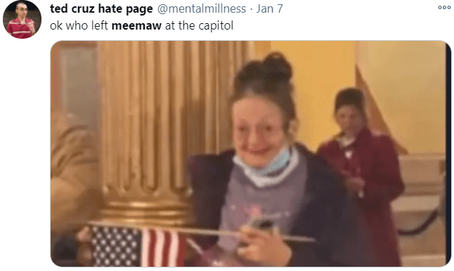 ted cruz hate page @mentalmillness · Jan 7 ok who left meemaw at the capitol 000 People Product Social group Photograph Community Facial expression Line Formal wear Interaction Sharing Organ Conversation Photography Snapshot Scarf Flag Flag of the united states