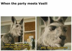 When the party meets Vasili Cool, we can be friends until you find the Tome of Strahd. After that it gets difficult Organism Skin Vertebrate Snout Jaw Adaptation Terrestrial animal Wildlife Snapshot Photo caption