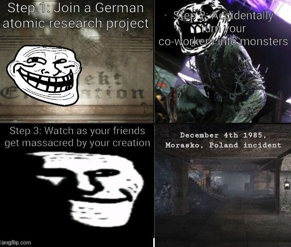 Step 1: Join a German atomic research project SepAgidentally ury your co-workers nto monsters ekt tion Step 3: Watch as your friends get massacred by your creation December 4th 1985, Morasko, Poland incident limgfip.com Black Font