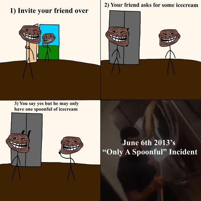 """2) Your friend asks for some icecream 1) Invite your friend over 3) You say yes but he may only have one spoonful of icecream June 6th 2013's """"Only A Spoonful"""" Incident Vertebrate Cartoon Organism Mammal Table Font Adaptation Art Sharing"""