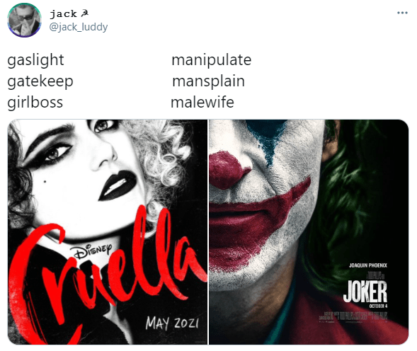jack A @jack_luddy ... gaslight gatekeep girlboss manipulate mansplain malewife DISNEY JOAQUIN PHOENIX JOKER OTOBER 4 MAY 2OZI Joker Eyebrow Mouth Facial expression Smile Lipstick Human Eyelash Font Happy Black hair Poster Beauty Art