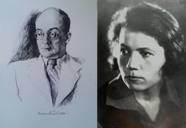 Портрет Николая Бажана, худ. Я.Кравченко. Справа: Докия Гуменная