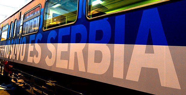 """The train saying """"Kosovo is Serbia"""" was stopped at the Raška station"""