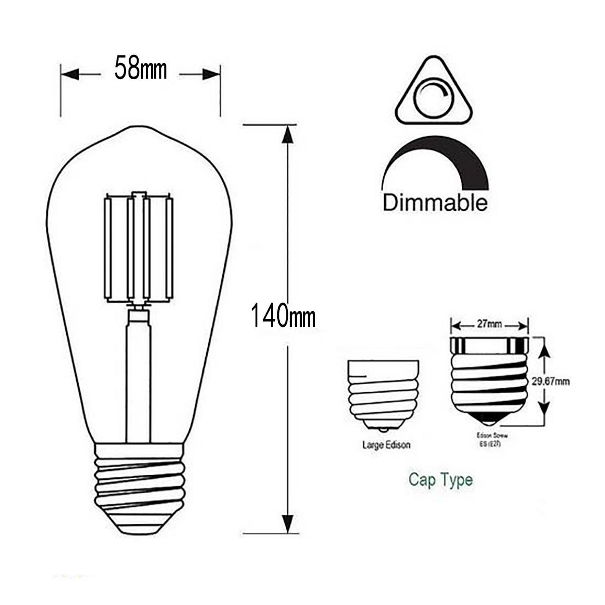 8w Filament Led T Shape Light Bulb Light St48 Chandelier