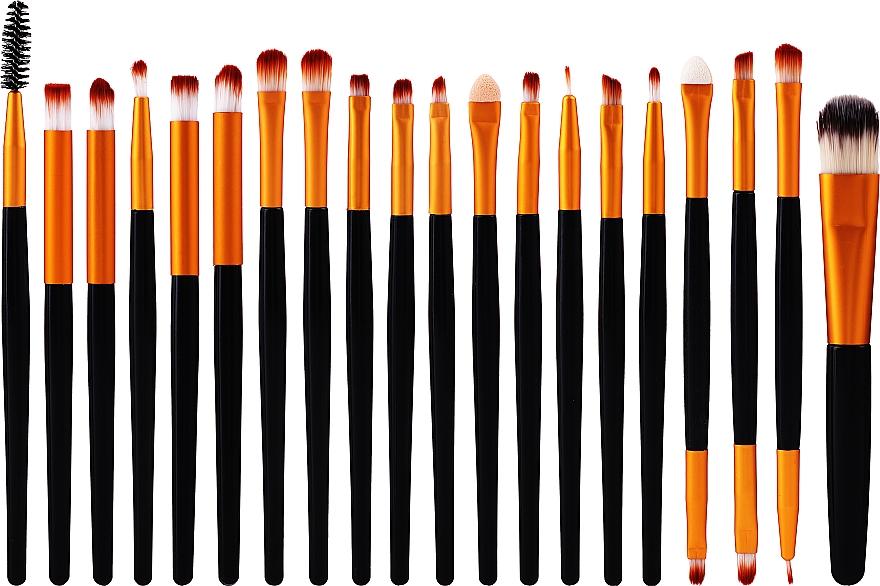 Set de pinceaux de maquillage, 20 pièces, noir-or - Lewer
