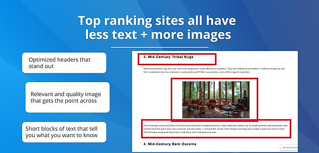 top-ranking sites: less text, more images