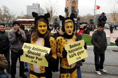 PETA güzelleri bu kez Taksim'de soyundu