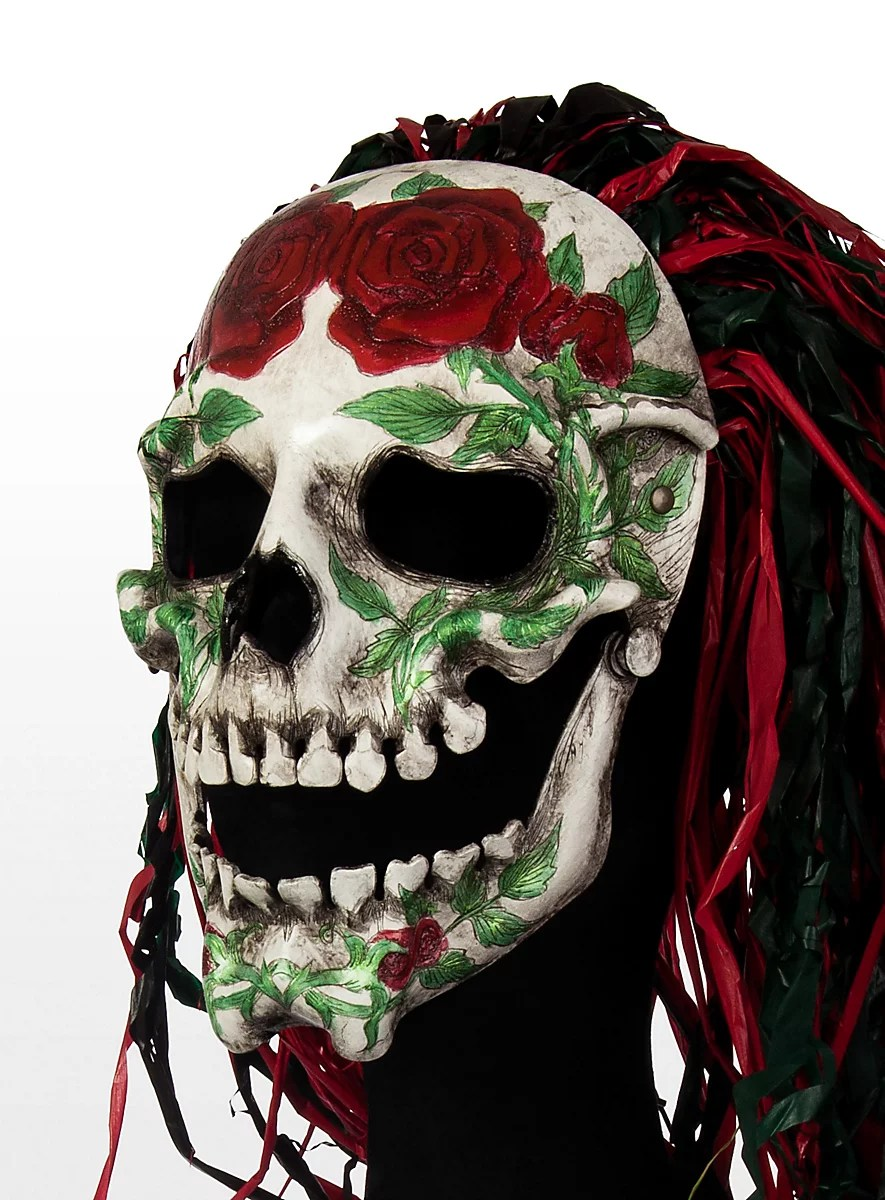Mexican Rose Skull Leather Half Mask Maskworld Com