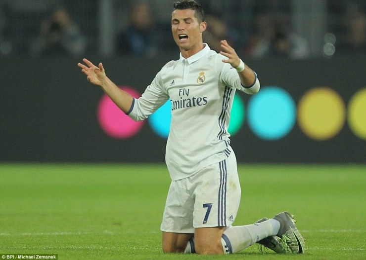 Ronaldo appeals for a free-kick after during a hard-fought second-half at Dortmund HQ