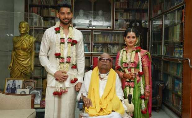 Actor Vikram's Daughter Marries Karunanidhi's Great Grandson. See Pics