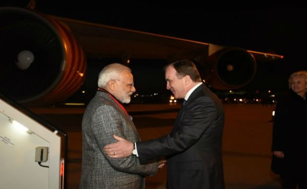 PM Modi Arrives In Sweden; Welcomed By Swedish Prime Minister At The Airport