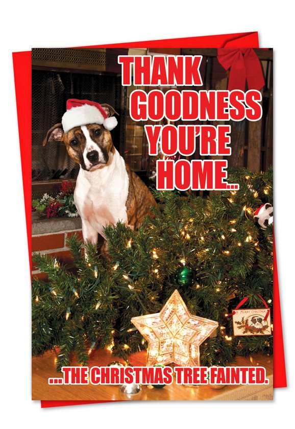 Christmas Tree Fainted Funny Dog Christmas Card