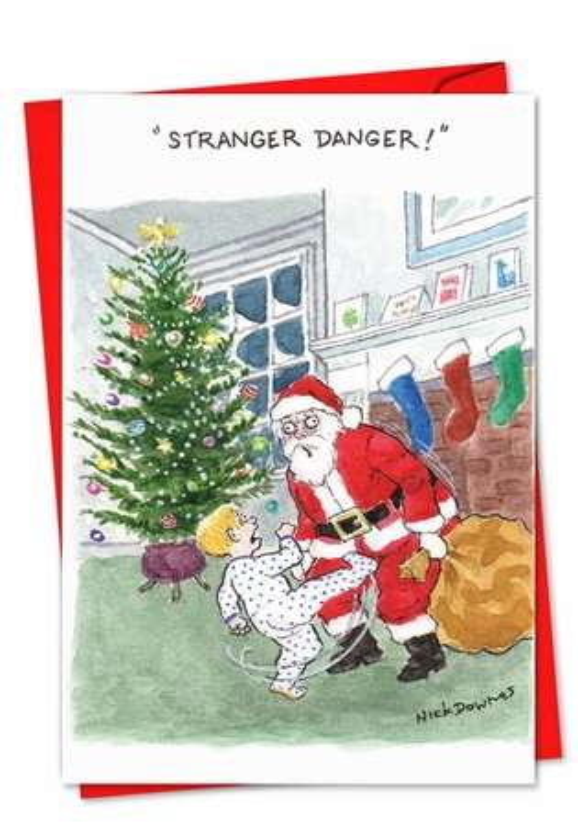 Stranger Danger Christmas Card By Nick Downes Pack Of 12