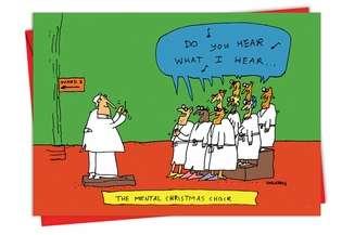 Mental Choir Cartoon Christmas Humor Card NobleWorks