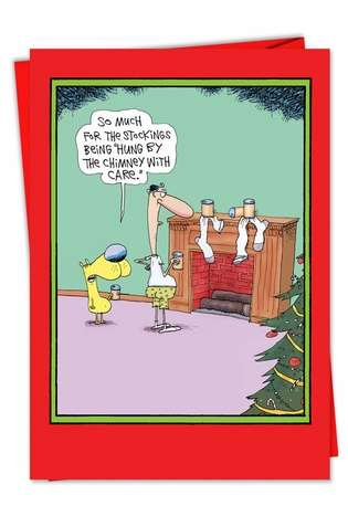 Chimney With Care Funny Christmas Card By Nobleworks