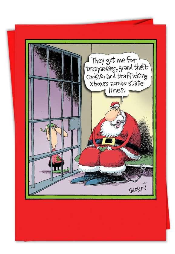 SantaampS In The Slammer Christmas Card