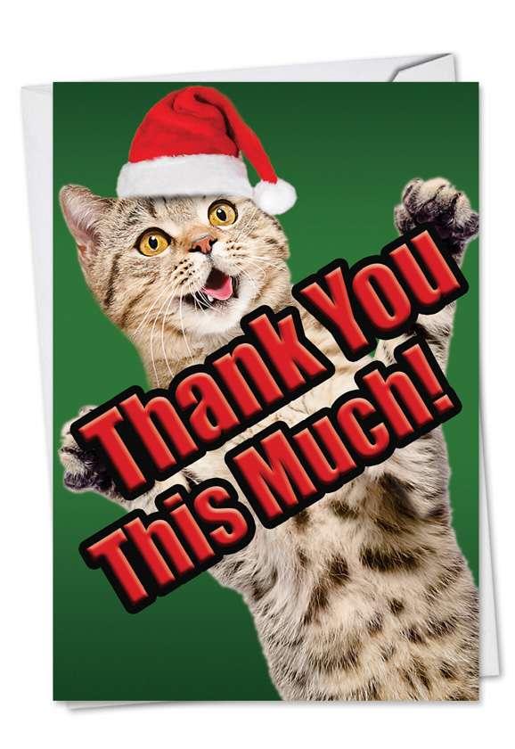 Cat Big Thanks Stylish Christmas Thank You Card