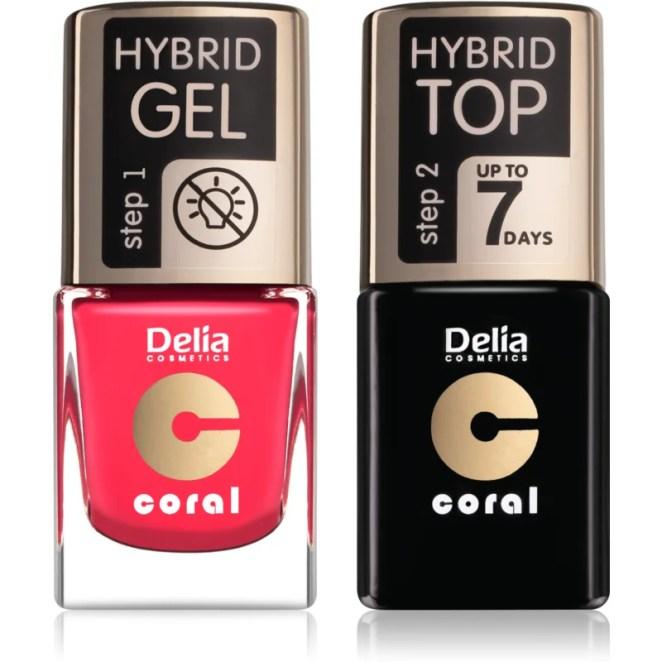 Delia Cosmetics Coral Nail Enamel Hybrid Gel kosmetická sada pro ženy odstín 03