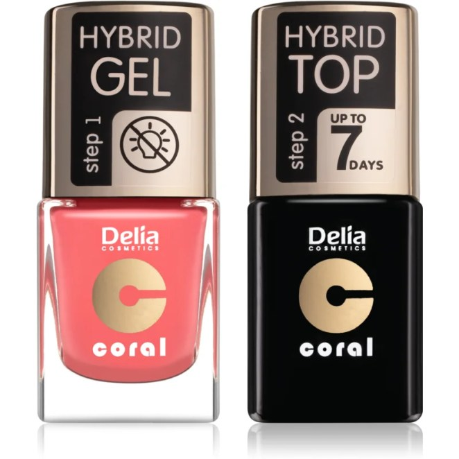 Delia Cosmetics Coral Nail Enamel Hybrid Gel kosmetická sada pro ženy odstín 16