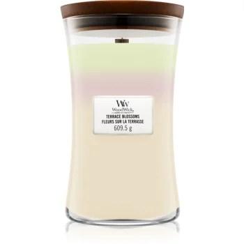 Woodwick Trilogy Terrace Blossoms lumânare parfumată cu fitil din lemn