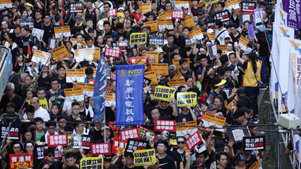 【組圖5】香港七一遊行浩浩蕩蕩 遊行隊伍和平理性 | 香港七一大遊行 | 新唐人中文電視臺在線