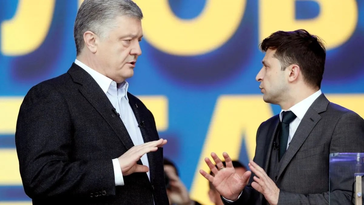 Петро Порошенко та Володимир Зеленський на дебатах 2019 року