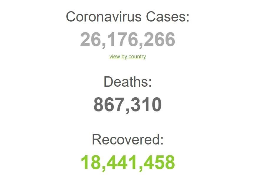 Коронавирусом заразились более 26,1 млн человек в мире.