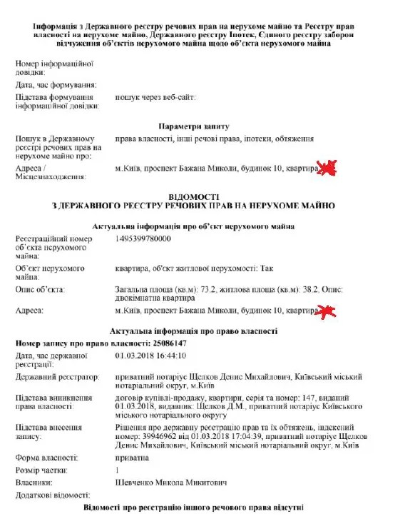 """Шевченко за два роки """"заробив"""" на квартири з гаражами у центрі Києва, загальна вартість яких перевищує 15 млн грн"""
