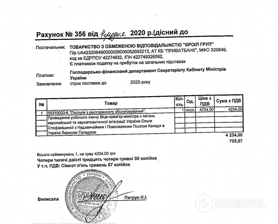 За один ланч заплатили 4,2 тис. грн