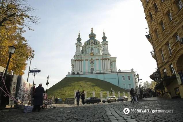150-летнее фото холма с Андреевской церковью в Киеве ...