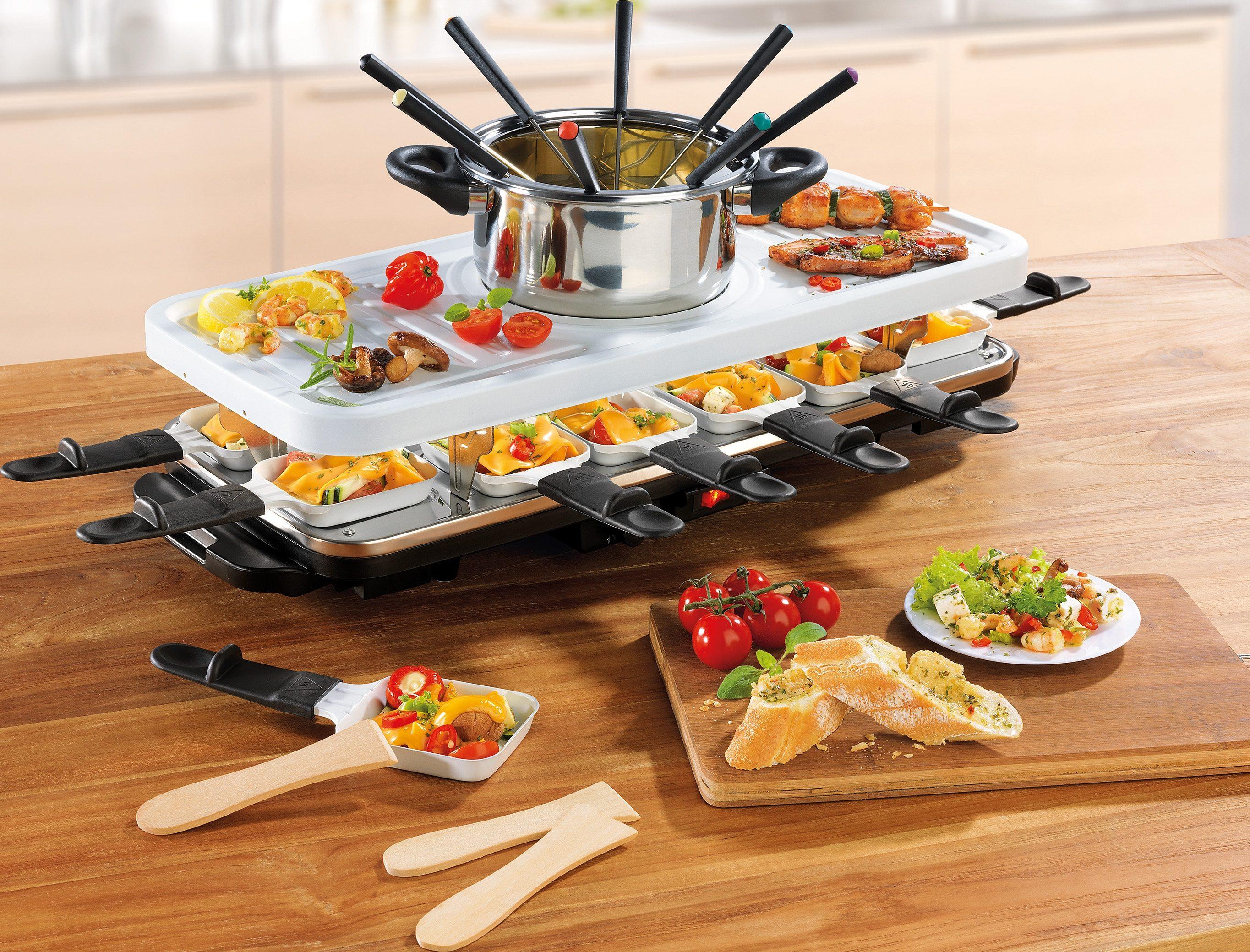 gourmetmaxx raclette und fondue set raclette und fondue set 12 raclettepfannchen 1600 w online kaufen otto